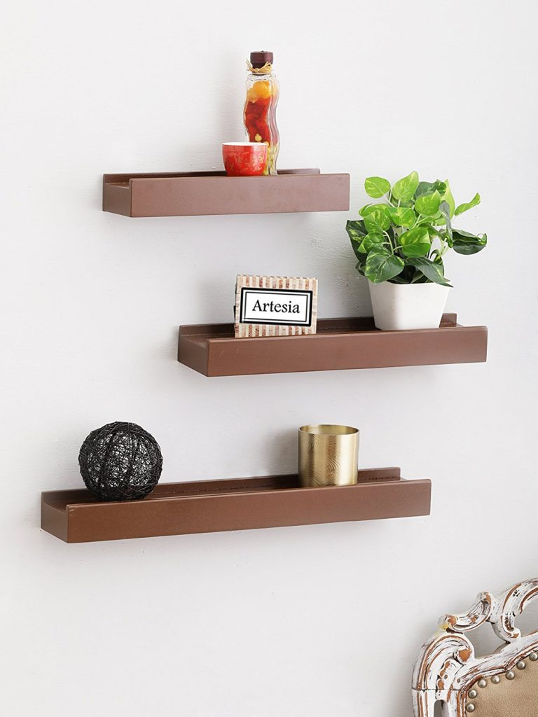 Artesia Brown Wooden Wall Shelf/Display Rack Shelf