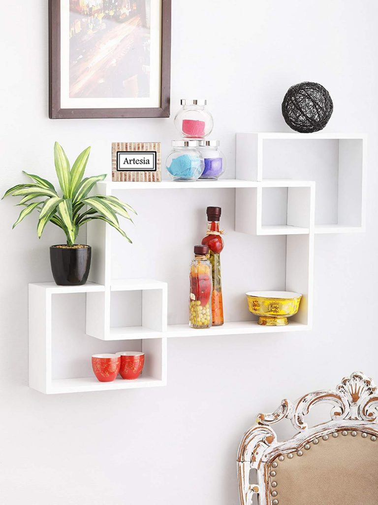 Artesia Wooden White Wall Shelf Rack Set Of 3 Intersecting Wall