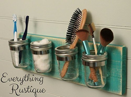 Mason jar bathroom storage and accessories