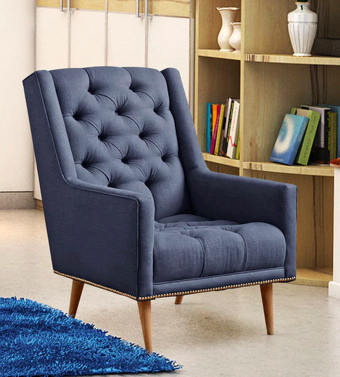 Alicia Modern Tufted Accent Chair In Blue Colour - Furniture20