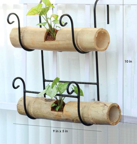 Bamboo holder with Double Bamboo Pots