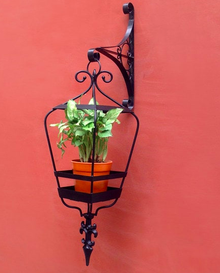 Lantern Black Metal Hanging Planter