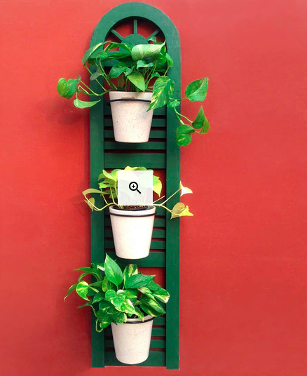 Green Wood and Metal Wall Planter Pots