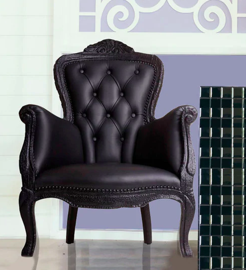 Accent Chair in Black Leatherette - Furniture20