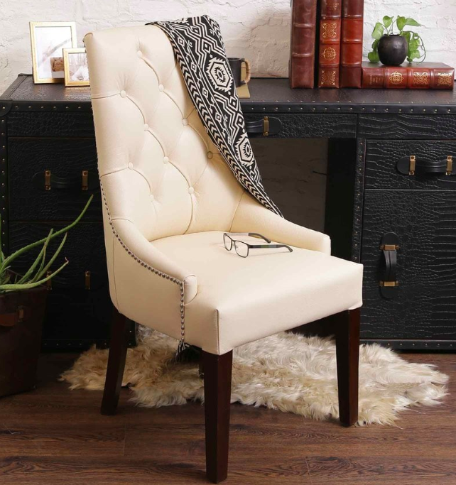 Accent Chair in Genuine Leather with Tufted Back Pepperfry - Furniture20