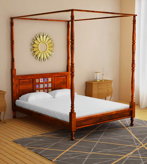 Solid Wood Queen Size Poster Bed  - Furniture20