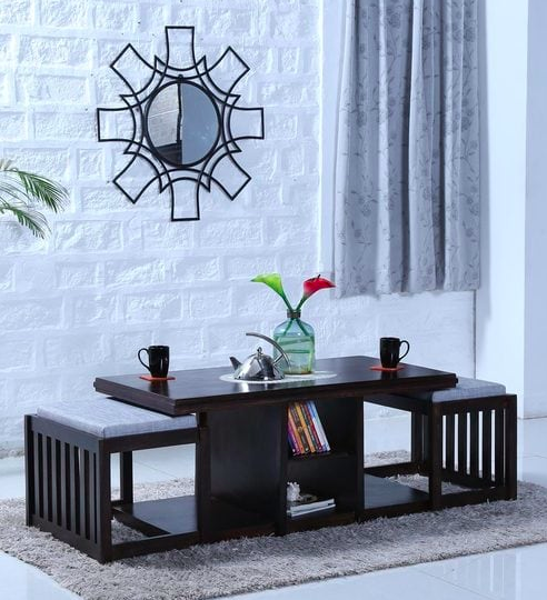Abbey Solid Wood Coffee Table Set with Two Stools