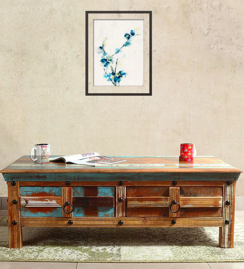 Azealia Solid Wood Coffee Table in Distress Finish Pepperfry - Furniture20