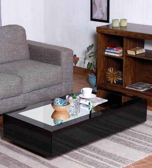 Noa Coffee Table in Glossy Black Finish with Mirrored Top by CasaCraft Pepperfry - Furniture20