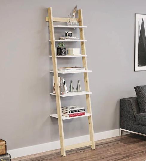 Ladder Book Shelf cum Display Unit in White Finish Furniture20