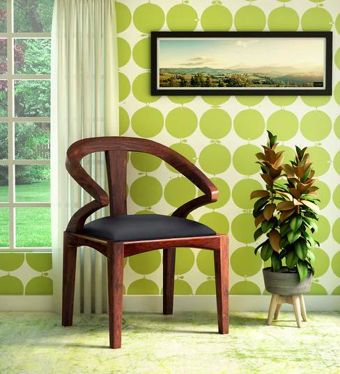 Elegant Solid Wood Upholstered Armchair in Teak Finish Furniture0