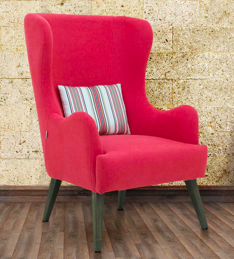 Cecelia Wing Chair in Red Colour by CasaCraft