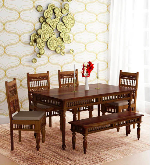Taksh Solid Wood Handcrafted Six Seater Dining Set (with Bench) with Brown Upholstery by Mudramark