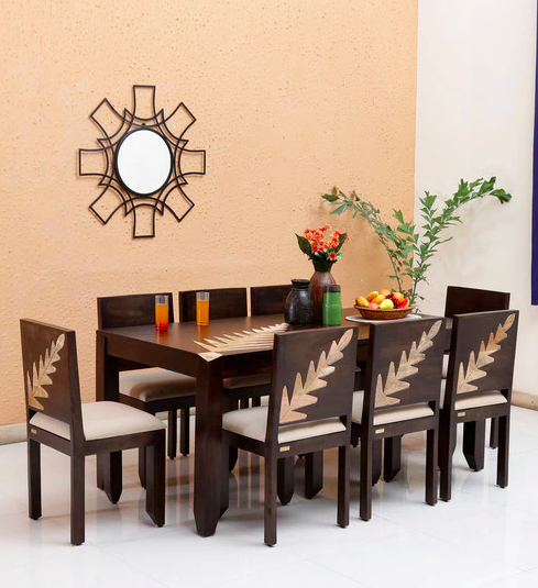 Zabel Solid Wood Eight Seater Dining Set in Dual Tone by Woodsworth