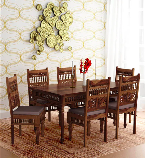 Taksh Solid Wood Six Seater Dining Set with Blue Upholstrey by Mudramark