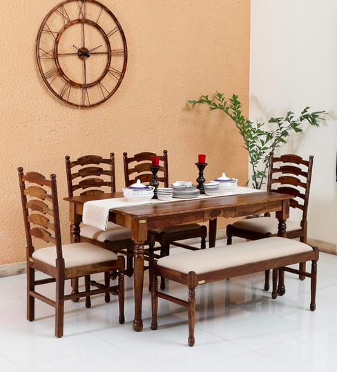 Encore Solid Wood Six Seater Dining Set (4 Chairs & 1 Bench ) in Provincial Teak Finish by Amberville
