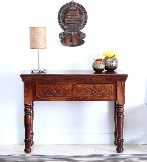 Vayaka Solid Wood Console Table in Provincial Teak Finish by Mudramark
