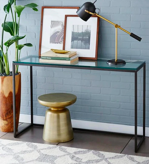 Minimalist Study cum Console Table with Glass Top by Asian Arts