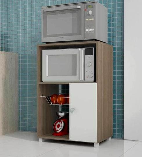 Takeko Kitchen Cabinet in White & Oak Finish by Mintwud