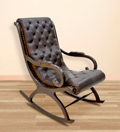 Rapheal Rocking Chair in Dark Brown Pure Italian Leather by INDOORS