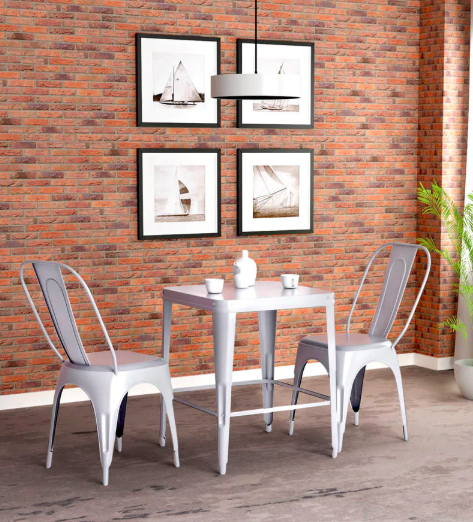 Anvil Two Seater Dining set in Zinc Colour by Bohemiana