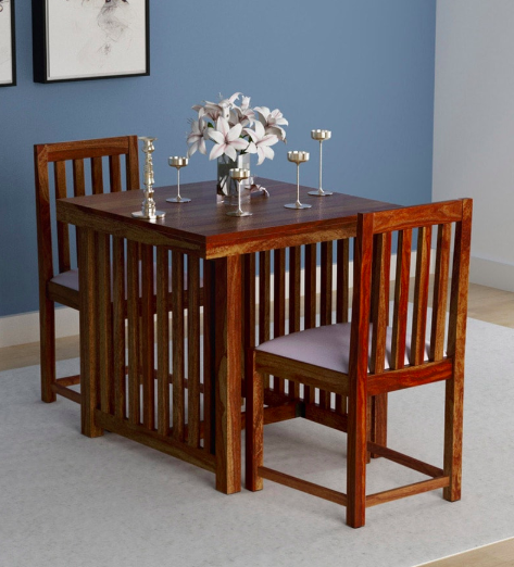 2.) Abbey Solid Wood Two Seater Dining Set in Provincial Teak Finish by Woodsworth