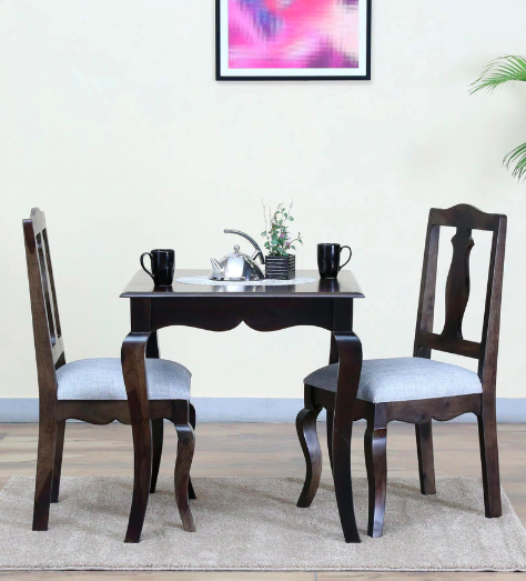 Anne Solid Wood Two Seater Dining Set in Warm Chestnut Finish by Amberville