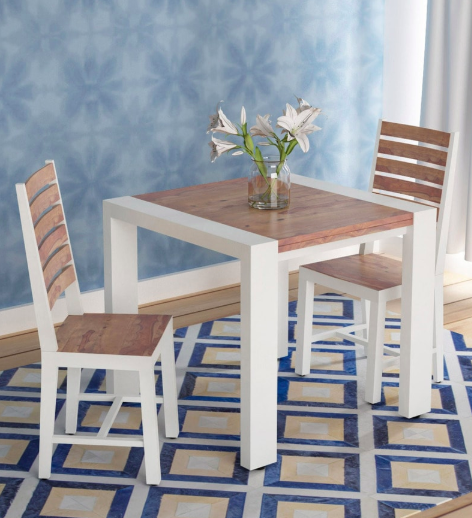 Verona Solid Wood Two Seater Dining Set in Distress Finish by Bohemiana