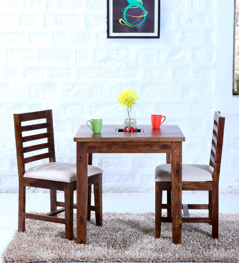 Stigen Solid Wood Two Seater Dining Set in Provincial Teak Finish by Woodsworth