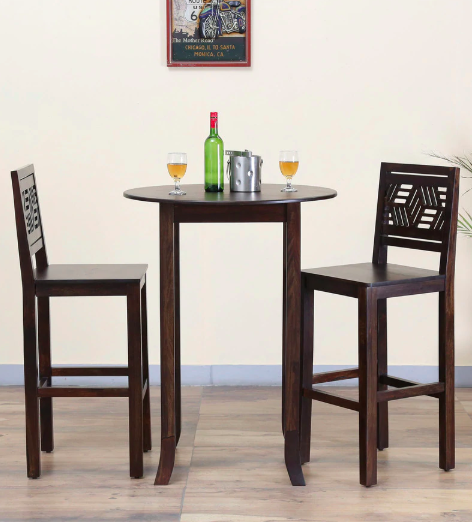 Alder Solid Wood Round High Two Seater Dining cum Bar Set in Warm Chestnut Finish by Woodsworth