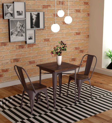 Novo Two Seater Dining set in Brown Colour by Bohemiana