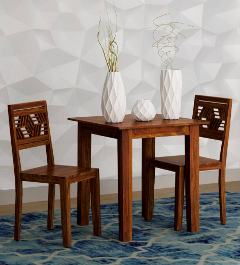 Alder Solid Wood Two Seater Dining Set in Provincial Teak Finish by Woodsworth