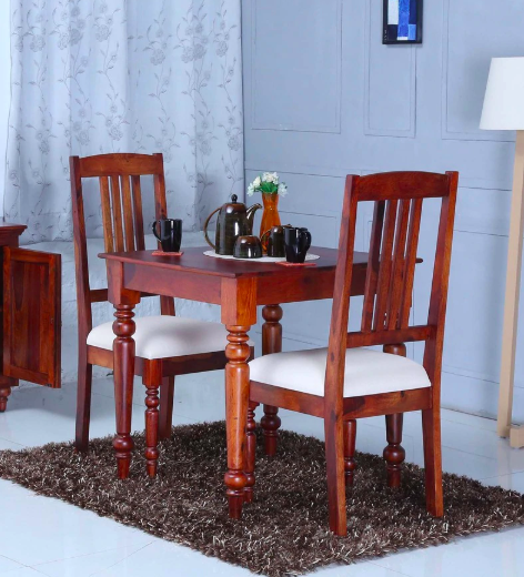 Harleston Solid Wood Two Seater Dining Set in Honey Oak Finish by Amberville
