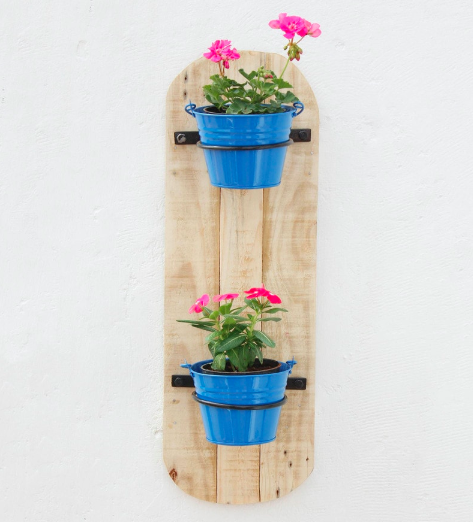 Light Blue Wood & Metal Vertical Wall 2 Pot Holders by Green Gardenia
