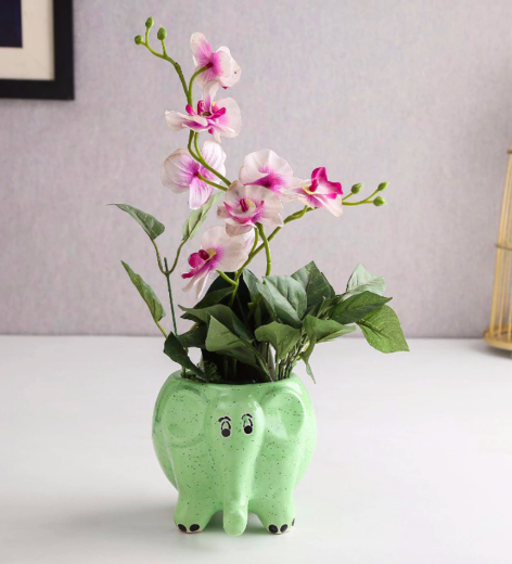 Green Ceramic Elephant Table Top Planter by Unravel India