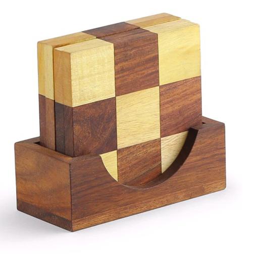 Unravel India Block Brown Sheesham Wood Coasters - Set of 4