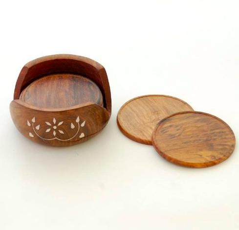 Villcart Round Wooden Coasters (Brown)