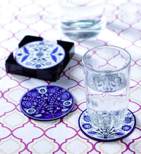 Reinvention Factory Multicolour Wooden Coasters with Iznik Design - Set of 6