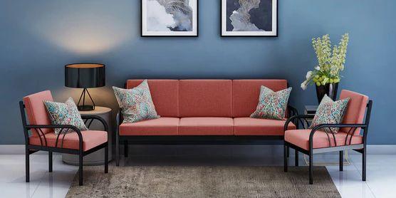 Metallika Vienna Metallic Sofa Set with rustic maroon mattress